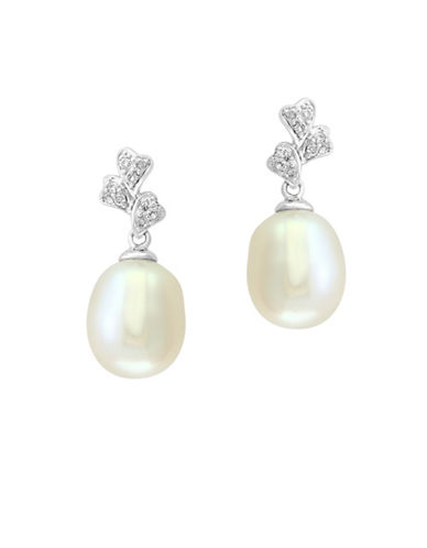 Effy 8MM Cultured Freshwater Pearl and 14K White Gold Pendant Necklace with 0.11TCW Diamonds-WHITE-One Size