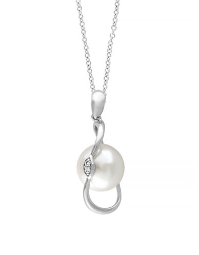 Effy 14K White Gold Freshwater Pearl and Diamond Pendant Necklace-PEARL-One Size