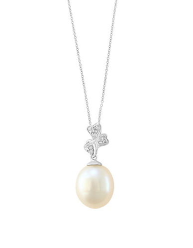 Effy 9MM Cultured Freshwater Pearl and 14K Yellow Gold Pendant Necklace with 0.07TCW Diamonds-WHITE-One Size