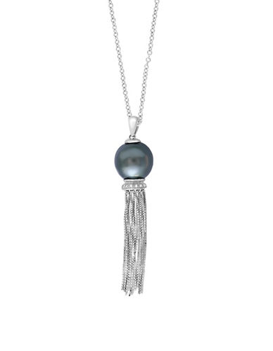 Effy 12MM Tahitian Pearl and Sterling Silver Pendant Necklace with 0.03 TCW Diamonds-WHITE-One Size