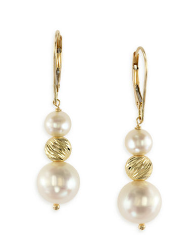 Effy 14K Yellow Gold Freshwater Pearl Drop Earrings-PEARL-One Size
