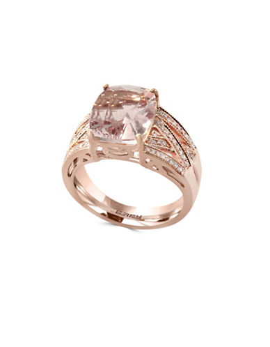 Effy 14K Rose Gold 0.25TCW Diamond Morganite Ring-PINK-7