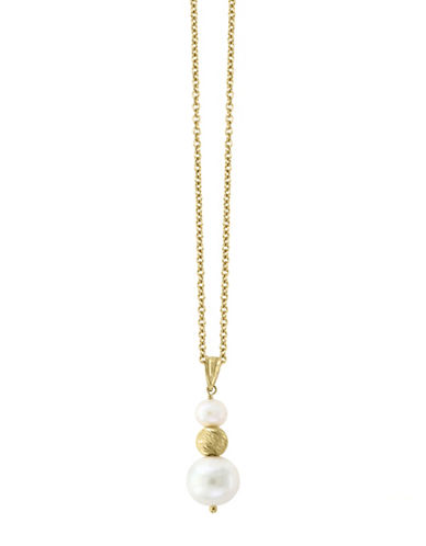 Effy 14K Gold, 14K Yellow Gold and 6MM-10MM White Cultured Freshwater Pearl Pendant Necklace-PEARL-One Size