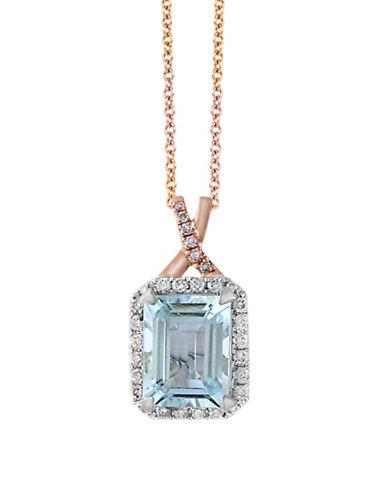 Effy 14K Rose Gold and 0.22TCW White Diamond and Aquamarine Pendant Necklace-BLUE-One Size