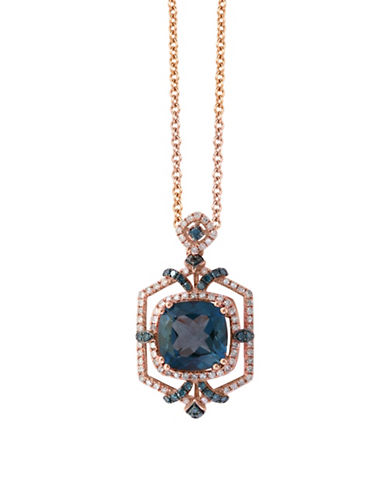 Effy 14K Rose Gold 0.6TCW Diamond, Blue Topaz Pendant Necklace-BLUE-One Size