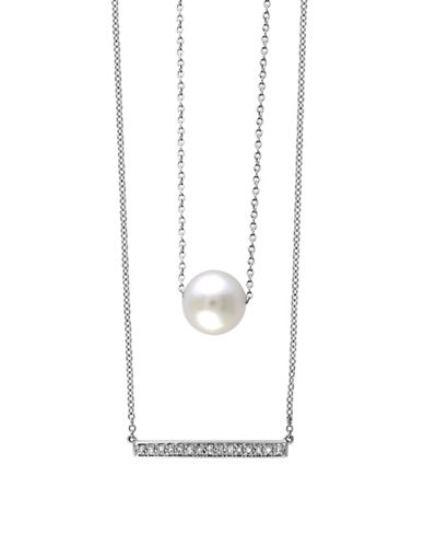 Effy Sterling Silver Pearl and 0.07 TCW Diamond Necklace-PEARL-One Size