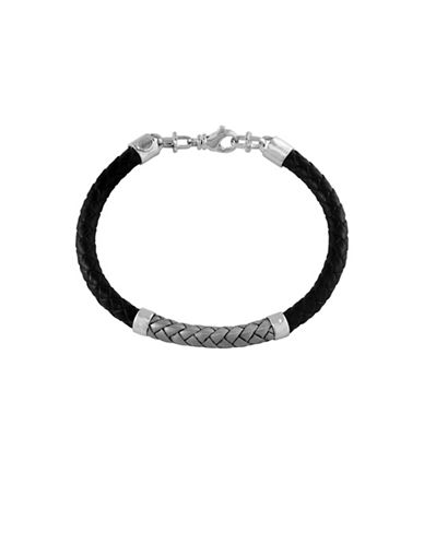 Effy Mens Braided Leather Sterling Silver Bracelet-BLACK-One Size