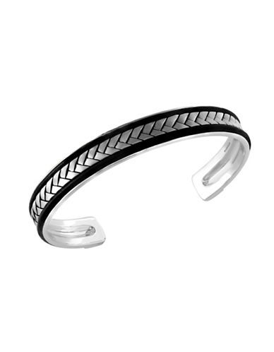 Effy Mens Woven Texture Sterling Silver Bangle-SILVER-One Size