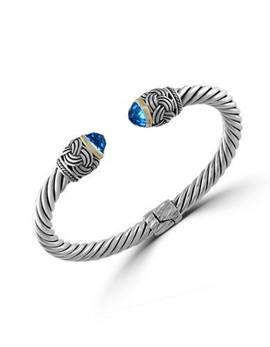 Effy 18K Yellow Gold and Sterling Silver Topaz Bangle-BLUE TOPAZ-One Size