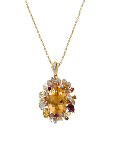 Effy 14K Yellow Gold, Citrine, Rhodolite Floral Pendant with 0.33TCW Diamond Necklace-YELLOW-One Size