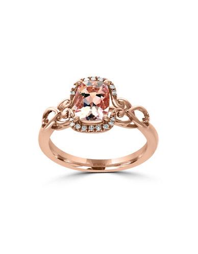 Effy 14K Rose Gold Morganite Ring with  0.08 TCW Diamonds-MORGANITE-7