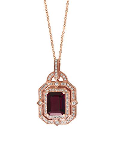 Effy 14K Rose Gold Rhodolite 0.33 Total Carat Weight Diamond Necklace-RHODOLITE-One Size