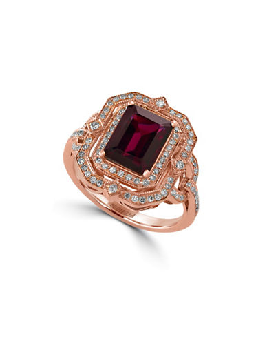 Effy 14K Rose Gold Rhodolite Ring with 0.42 Total Carat Weight Diamonds-RHODOLITE-7