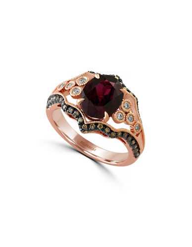 Effy 14K Rose Gold Ring with Rhodolite and 0.39 Total Carat Weight Diamonds-RHODOLITE-7