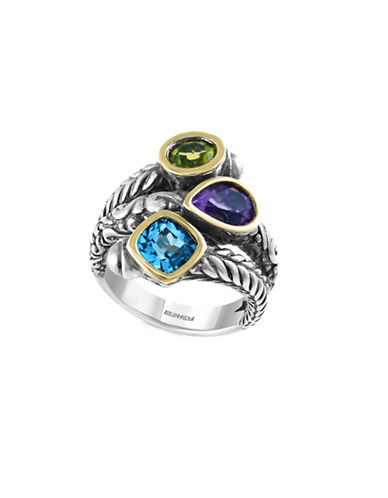 Effy Sterling Silver Amethyst, Blue Topaz, and Peridot Ring-MULTI-7
