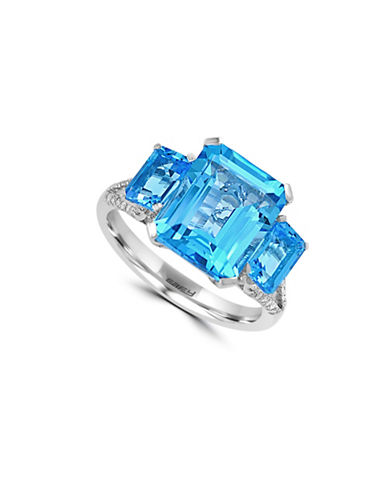 Effy 14K White Gold Blue Topaz Ring with 0.14 TCW Diamonds-BLUE TOPAZ-7