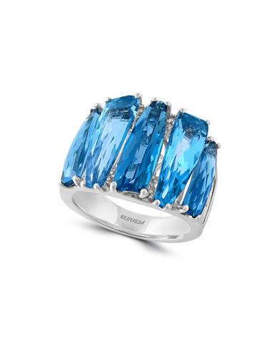 Effy 14K White Gold Blue Topaz Ring with 0.07 TCW Diamonds-BLUE TOPAZ-7