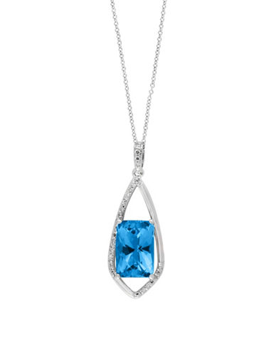 Effy 14K White Gold and Blue Topaz 0.14 TCW Diamond Pendant Necklace-BLUE TOPAZ-One Size