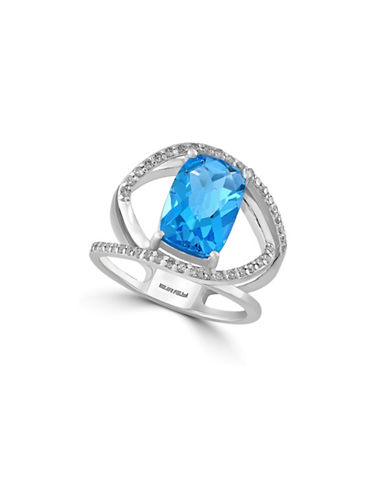 Effy 14K White Gold and Blue Topaz 0.14 TCW Diamond Ring-BLUE TOPAZ-7