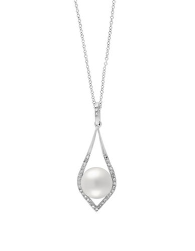 Effy 14K White Gold Freshwater Pearl Pendant Necklace with 0.1 TCW Diamonds-PEARL-One Size