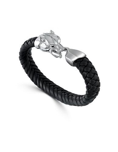 Effy Mens Sterling Silver Panther Leather Bracelet-BLACK-One Size