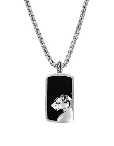 Effy Mens Sterling Silver Onyx Dog Tag Necklace-ONYX-One Size