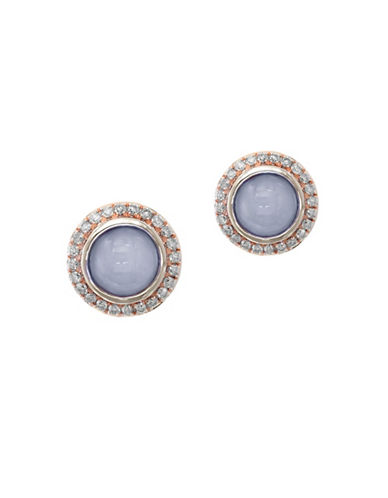Effy Quartz Chalcedony, 0.24 TCW Diamond, 14K Rose Gold Round Stud Earrings-GREY-One Size