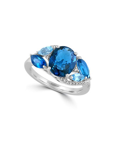 Effy 14K White Gold and Blue Topaz Ring with 0.09 TCW Diamonds-BLUE TOPAZ-7