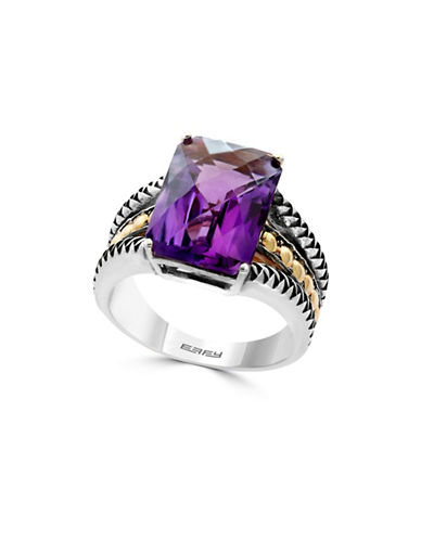 Effy Sterling Silver and 18K Yellow Gold Amethyst Ring-AMETHYST-7