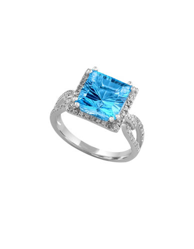 Effy 14K White Gold and Blue Topaz Ring with 0.030 Total Carat Weight Diamonds-BLUE TOPAZ-7