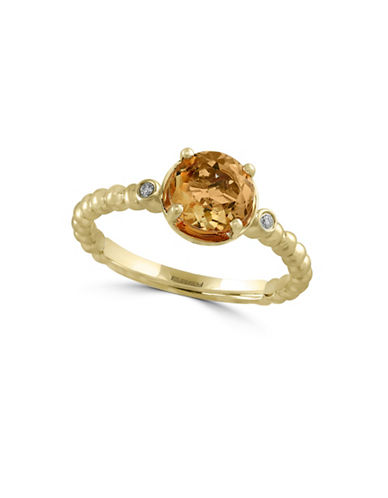 Effy 14K Yellow Gold Ring with Citrine and 0.02 TCW Diamonds-CITRINE-7