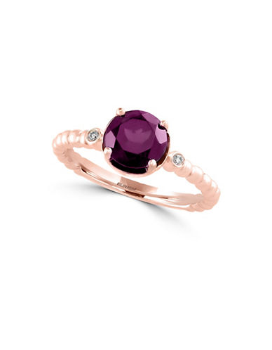 Effy 14K Rose Gold Rhodolite Ring with 0.02 TCW Diamonds-RHODOLITE-7