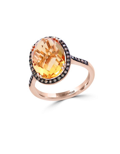 Effy 14K Rose Gold Citrine and 0.25TCW Diamond Ring-YELLOW-7