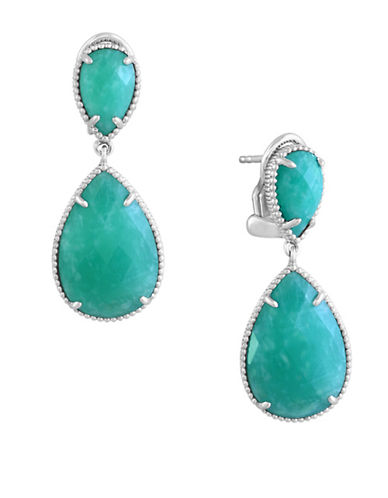 Effy Sterling Silver and Amazonite Drop Earrings-GREEN-One Size