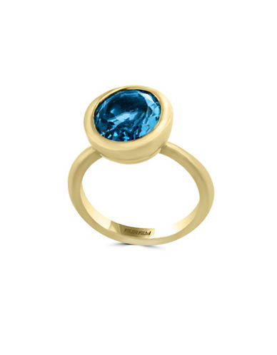 Effy 14K Yellow Gold and Blue Topaz Ring-BLUE-7