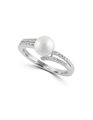 Effy 14K White Gold Ring with Freshwater Pearl and 0.11 TCW Diamonds-PEARL-7