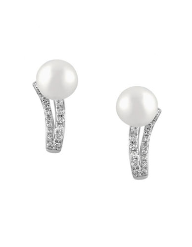 Effy 14K White Gold Freshwater Pearl Earrings with 0.11 TCW Diamonds-PEARL-One Size