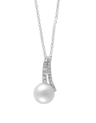 Effy 14K White Gold Freshwater Pearl Necklace with 0.06 TCW Diamonds-PEARL-One Size