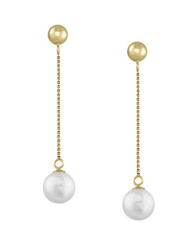Effy 14K Yellow Gold and Freshwater Pearl Earrings-PEARL-One Size