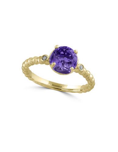 Effy 14K Yellow Gold Amethyst Ring with 0.02 TCW Diamonds-AMETHYST-7