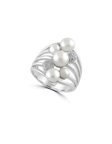 Effy 4MM To 6.5MM Freshwater Pearl Cluster Ring with 0.05 TCW Diamonds-PEARL-7