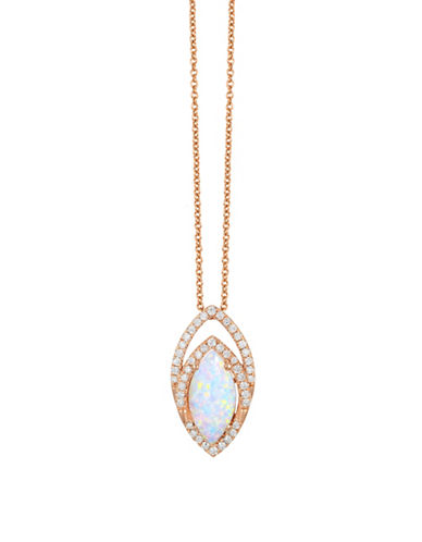 Effy 14K Rose Gold Marquis Opal 0.23 Total Carat Weight Diamond Necklace-OPAL-One Size