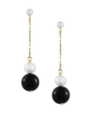 Effy Freshwater Pearl, Onyx & 14K Yellow Gold Drop Earrings-BLACK-One Size