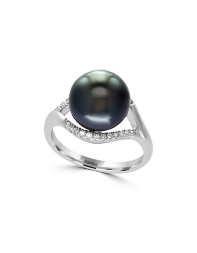 Effy 10MM Round Tahitian Pearl Sterling Silver Ring with 0.18 TCW Diamonds-TAHITIAN PEARL-7
