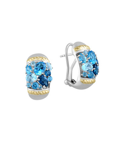 Effy 18K Yellow Gold Blue Topaz and Sterling Silver Earrings-BLUE-One Size 88421304_BLUE_One Size