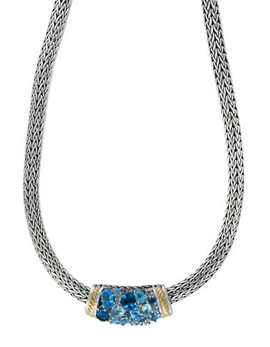 Effy 18K Yellow Gold Blue Topaz and Sterling Silver Necklace-BLUE-One Size