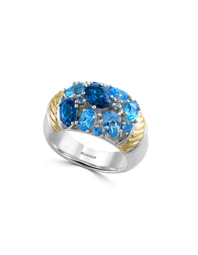 Effy 18K Yellow Gold Blue Topaz and Sterling Silver Ring-BLUE-7 88421309_BLUE_7