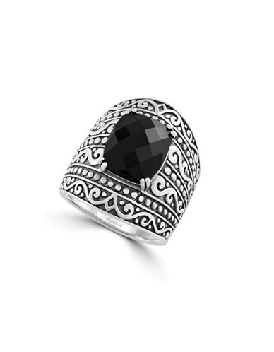 Effy Sterling Silver and Onyx Ring-BLACK-7