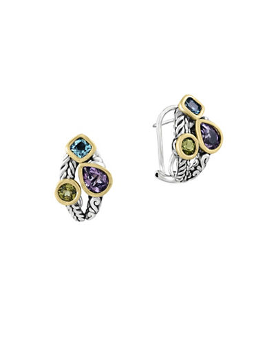Effy Amethyst, Blue Topaz, Peridot, 18K Yellow Gold and Sterling Silver Earrings-MULTI-One Size