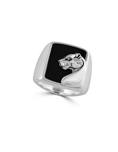 Effy Mens Onyx and Sterling Silver Panther Ring-SILVER-10.5